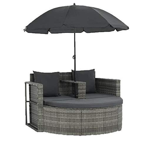 Sofá de jardín exterior con sombrilla de jardín de 2 plazas con cojín, sofá de jardín de resina trenzada para patio, terraza o piscina
