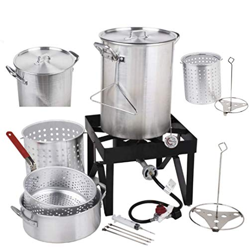 Holiday Master 30QT Turkey Fryer Steamer Kit – Heavy Duty Aluminum 55000 BTU