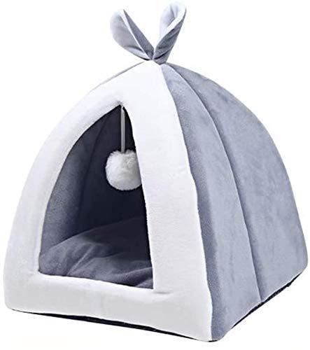YAOSHUYANG Cama para mascotas, nido plegable, cama para perros y gatos, franela cálida para invierno, nido de algodón, para perros y gatos pequeños, color rosa