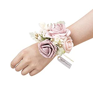 Ling's moment Dusty Rose Wrist Corsage Bracelet, Set of 6 Vintage Wedding Corsage for Bridesmaid Bridal Shower Wedding Flower Corsage Ribbon Prom