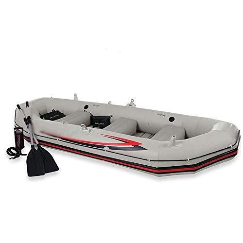 FUJGYLGL Kayak Inflable, roja de la Pesca en Barco, Mejor Pesca Viaje de navegación, 4-Persona Kayak Inflable Asalto del Barco fijada con remos de Aluminio, por Pescador y Recreativo