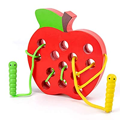 Wooden Apple Lacing Toy with 2 Worms, WOOD CITY Fine Motor Skill Toys, Airplane Travel Toys, Apple Threading Game Early Learning Montessori Toys for Toddlers 1 2 3 Years Old