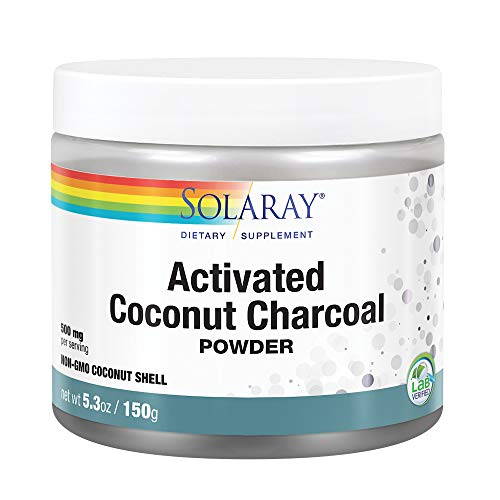 Solaray Activated Coconut Charcoal Powder| Carbón Activado | Polvo | 150 Grams