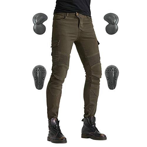 Men's Motorcycle Riding Pants Denim Jeans Protect Pads Equipment with Knee and Hip Armor Pads VES6...