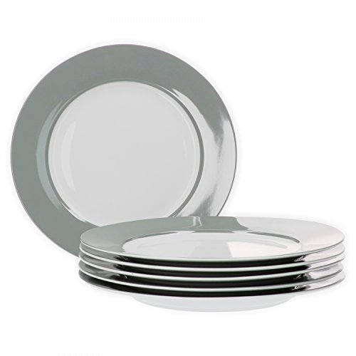 Van Well 6er Set Speiseteller Essteller flach Serie Vario Porzellan - Farbe wählbar, Farbe:grau