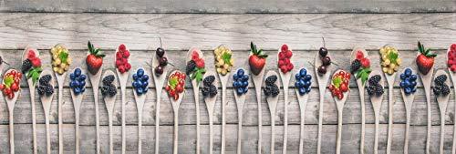 HomeLife Tappeto Cucina Antiscivolo Lavabile Made in Italy [Cm 58X190] | Passatoia Moderna in Ciniglia | Tappeto Runner Lungo Colorato con Stampa Digitale con Frutti di Bosco e Fragole [Cm 58X190]