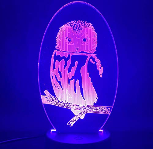 3D Illusion Lamp Remote Control Night Light 3D Lamp The owl Animals Cute Gift for Children Color Changing Battery Operated Acrylic led Night Light lamp for Room