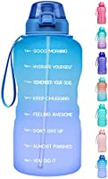 Fidus Motivational 1 Gallon/128oz Water Bottle with Straw and Time Marker,Reusable Leakproof Tritan BPA Free Sports...