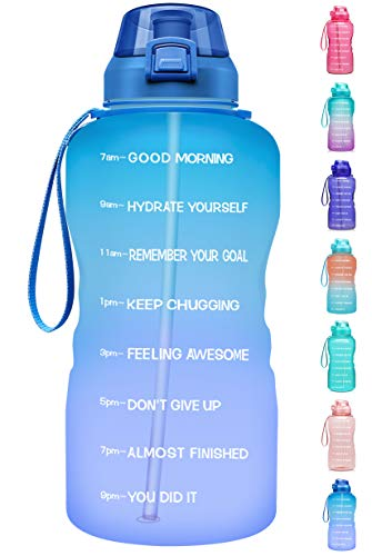 Fidus Large 1 Gallon/128oz Motivational Water Bottle with Time Marker & Straw,Leakproof Tritan BPA Free Water Jug,Ensure You Drink Enough Water Daily for Fitness,Gym and Outdoor Sports