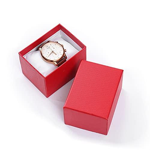 ROTAKUMA 5 Caja DE CARTÓN Caja DE Reloj DE Reloj DE Pulsera Caja De Joyería Hombre Reloj Cajas De Regalo Mostrados Caja (Color : Red 1)