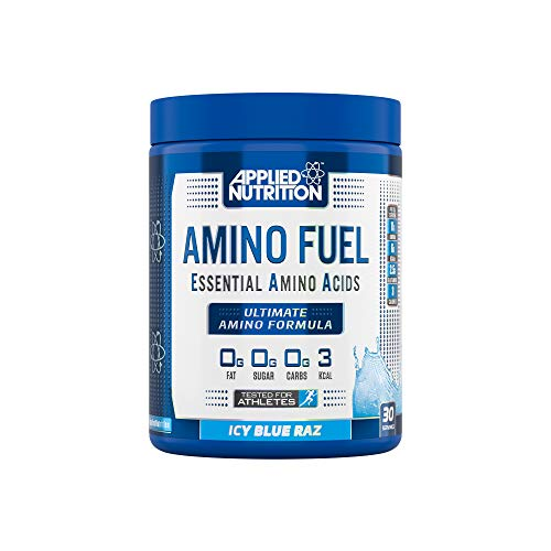 Applied Nutrition Amino Fuel - Essential Amino Acid (EAA) Powder Supplement Maximize Muscle Growth, 11g of Aminos Per Serving with BCAA's 390g - 30 Servings (ICY Blue Raz)