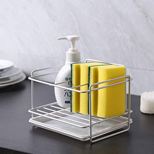 Organizador para fregadero de cocina, soporte para esponja - Soporte para cepillo de jabón con bandeja de drenaje para accesorios de cocina y baño (blanco, acero inoxidable)