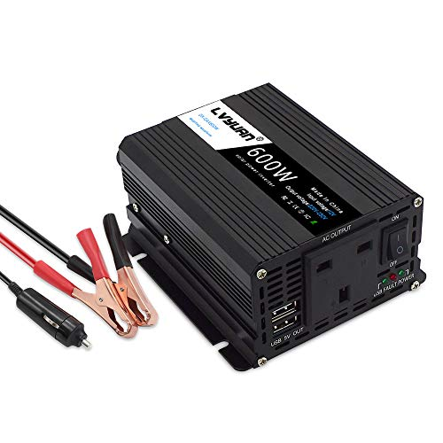 Inversor de corriente de 600 W CC 12 V a CA 230 V 240 V 3 en 1 cargador de coche encendedor de cigarrillos + enchufe de CA + dos puertos de carga USB convertidor de voltaje