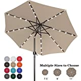 ABCCANOPY 9FT Patio Umbrella Ourdoor Solar Umbrella LED Umbrellas with 32LED Lights, Tilt and Crank Table Umbrellas for Garden, Deck, Backyard and Pool,12+Colors,(Khaki)