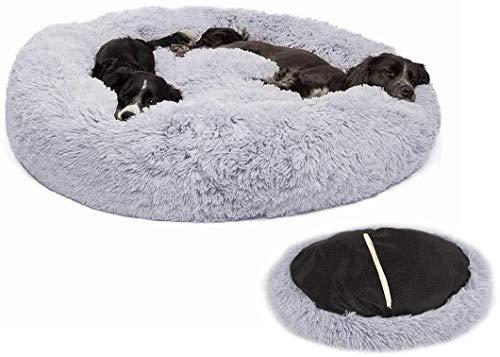 Lrhps Deluxe-Haustierbett,Kuschelkissen für Hunde und Katzen, weich, waschbar,für Katzen und kleine bis mittelgroße Hunde,Grau,60 * 60cm