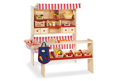 Pinolino Marktstand Lucy, massives Holz, besonders standfest, Tresen rechts oder links montierbar, für Kinder ab 2 J., rot