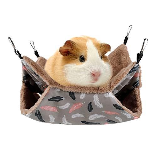 LEILIANG Hamster Hamster Cama pequeña jaula para mascotas Hamaca, doble capa, jaula para hámster, jaula de hurón, hamaca para mascotas, cama colgante (M, pluma de café)