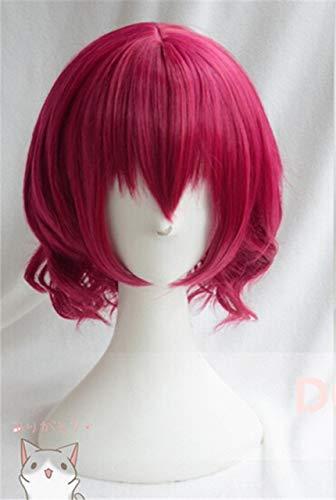 Akatsuki no Yona Yona Short Rose Red Curly Hair Resistente al calor Cosplay Disfraz Peluca + Gorra de peluca gratiscomo la imagen