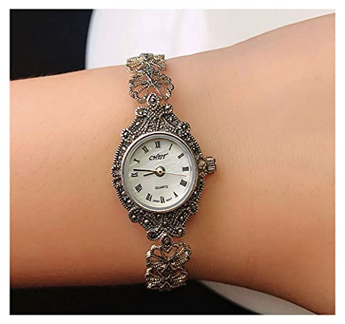 CHXISHOP Pulsera de Las Mujeres Reloj Movimiento de Cuarzo 925 Silver Hollow Flower Inlaid Diamond Watch Watch (19 cm) White