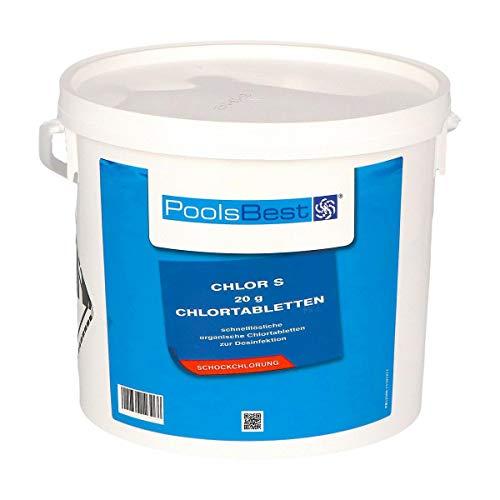 POOLSBEST® 5 kg Chlortabs S 20 g Tabletten - schnelllösliche Clortabletten - Chlortabs wirken schnell gegen Bakterien, Pilze und Viren