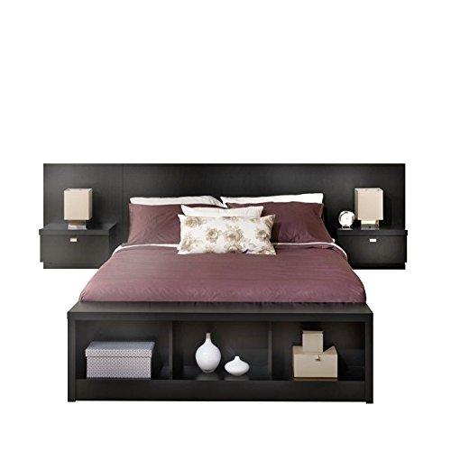 Prepac Series 9 Platform Storage Bed With Floating Headboard In Black    King, Bench Not
