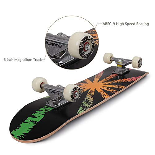 YF YOUFU Skateboard Complete, 31 Inch Pro Skateboards for Boys/Girls/Youth/Adults, Tricks Skate Board for Beginners, 7 Layer Canadian Maple Wood Double Kick Concave Skateboards (Shining)