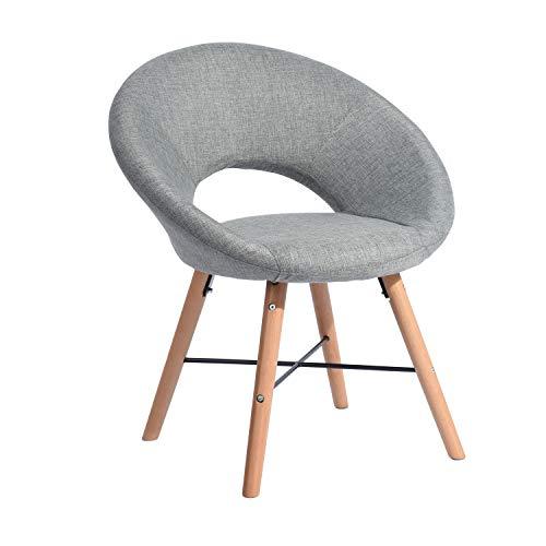 FurnitureR Silla Moderna de Tela Grande para Sala de Estar Sillas de Ocio Sillones para Dormitorio con Patas de Madera Gris