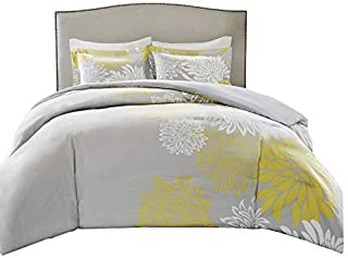 Comfort Spaces Enya 5 Piece Comforter Set Ultra Soft Hypoallergenic Microfiber Floral Print Bedding, King, Yellow/Grey
