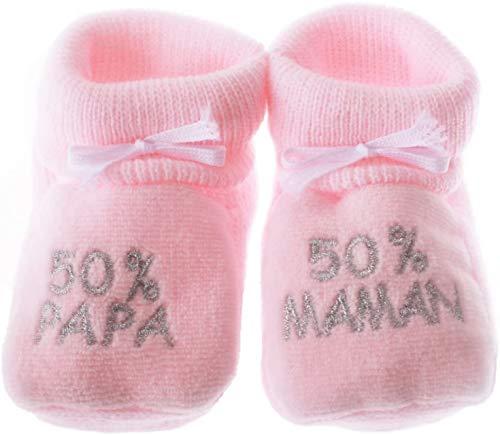 NOSBEBES® Chaussons bébé idée Cadeau bébé maternité ou idée Annonce de Grossesse (rose-50)