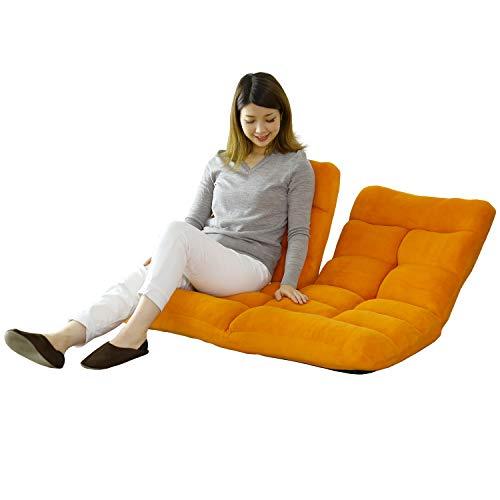 DORIS 座椅子 2人掛け ローソファ フロアソファ 左右独立リクライニング 奥行調整可能な2箇所の14段階ギア搭載 ふっくらサンゴマイヤー生地 オレンジ ピオンセ