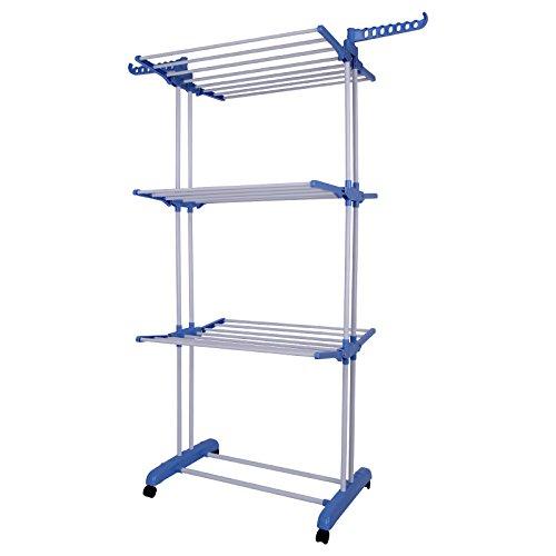 DHOUTDOORS Tendedero Azul de 3 Capas Tendedero Vertical de 3 Capas para Exteriores Tendedero de Secado Vertical Tendedero de Acero Móvil