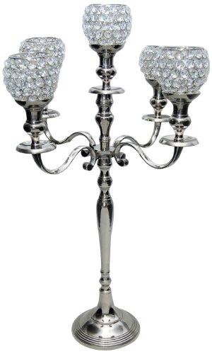 Insideretail Ltd - Candelabro in Argento con 5 Sfere in Cristallo, 60 cm