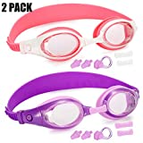 Rngeo Kids Swim Goggles, Pack of 2, Swimming Glasses with Nose Bridges in 3 Sizes for Children and Early Teens from 3 to 15 Years Old, Anti-Fog, Waterproof, UV Protection (Set of 2, 2 Colors)