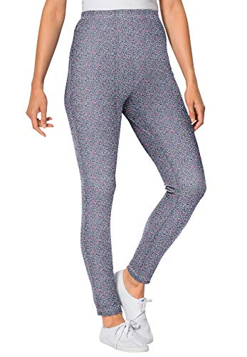 Woman Within Women's Plus Size Petite Stretch Cotton Printed Legging - 5X, Medium Heather Grey Delicate Ditsy