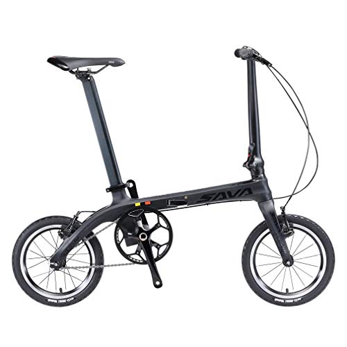 SAVANE Faltrad Carbon, Z0 14 Zoll faltrad klapprad Tragbare Mini Falträder Fixed Gear City Folding Bike mit Scheinwerfer