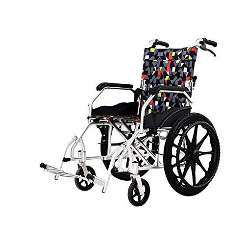 TTWUJIN Silla de Ruedas Ligera, Médica Plegable Portátil Liviana, Aleación de Aluminio, Portátil Plegable, Adecuado para Personas con Movilidad Reducida,Rueda