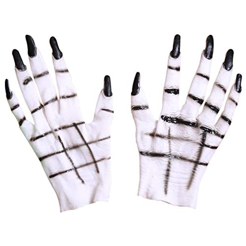 Halloween Hände Latex Handschuh Cosplay-Handschuhe Weiße Ghost-Handschuhe Ghost Claw Kostümhandschuh Maskenball Halloween Requisiten Dress Up Party