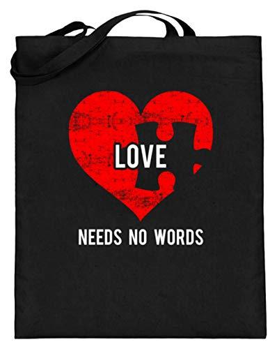 Bolsa de yute con asas largas, diseño de corazón con texto en inglés, color Negro, talla 38cm 42cm