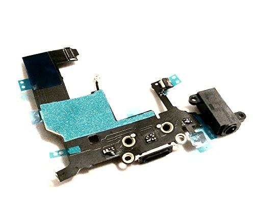 Unbekannt Connettore dock di ricarica per iPhone 5G, presa audio, jack, antenna, microfono, illuminazione schermo, connettore, auricolari, colore nero