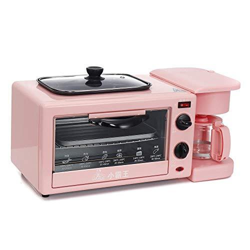 Yuki's Little Store 220 V elektrisch 3 in 1 kleine Multifunktions-Maschine Kaffeepfanne Pizzaofen Toaster Toaster Küche Haus, Farbiges Glas, Blanc chaud
