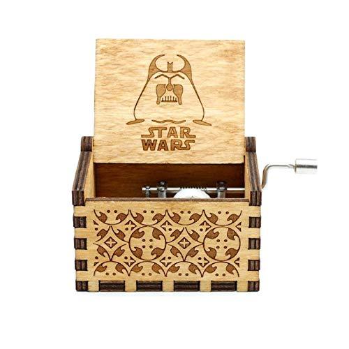 GPWDSN Caja Musical de Madera Tallada, Caja de música de Metal Star Wars Caja Musical de un Mundo Maravilloso Manualidades de decoración del hogar de Madera para niños