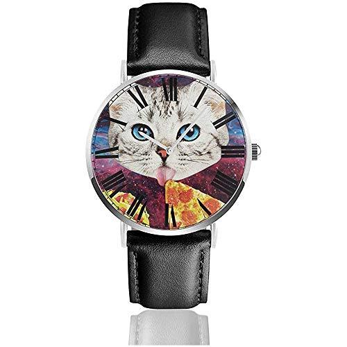 Galaxy Pizza Cat Watch Orologi da polso casual con cinturino in pelle nera