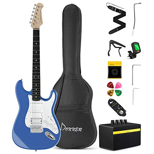 Donner DST-102T Solid Body 39 Inch Full Size Electric Guitar Kit Lake Blue, Beginner Starter, with Amplifier, Bag, Capo, Strap, String, Tuner, Cable, Picks