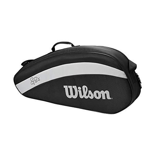 Wilson - WR8005801001 - Sac pour raquettes de tennis , Fed Team, Jusqu'à 3 raquettes, Noir/Blanc,
