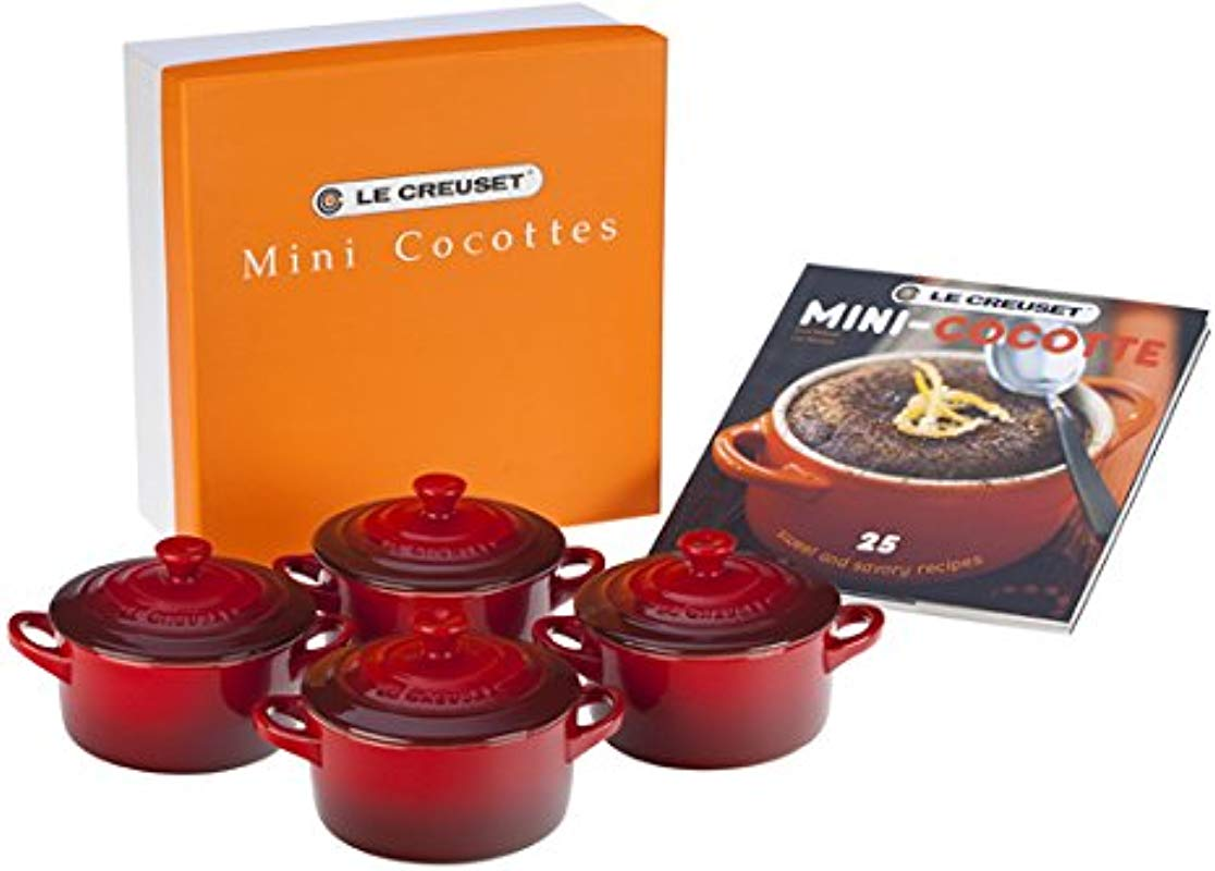 Le Creuset Set Of 4 Mini Cocottes With Cookbook Cerise Cherry Red