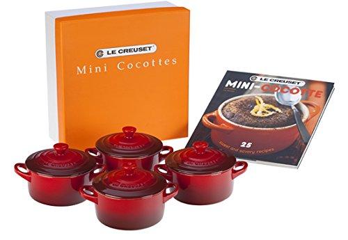 Le Creuset PG1164CB-0867 Stoneware Mini Cocottes And Cookbook (Set of 4), 8 oz, Cerise