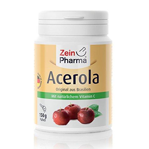 ZeinPharma Acérola en poudre • 150 g (alimentation 8 semaines) • Source de Vitamine C naturelle • Fabriqué en Allemagne