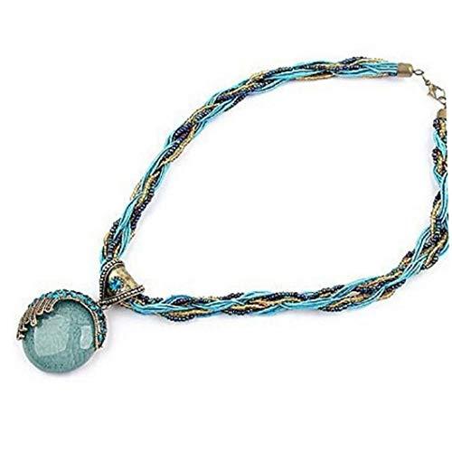 Women's Pendant Necklace Bohemia Amber Diamond Necklace Alloy Stone Chain Pendant Women Jewelry Modeling Accessories