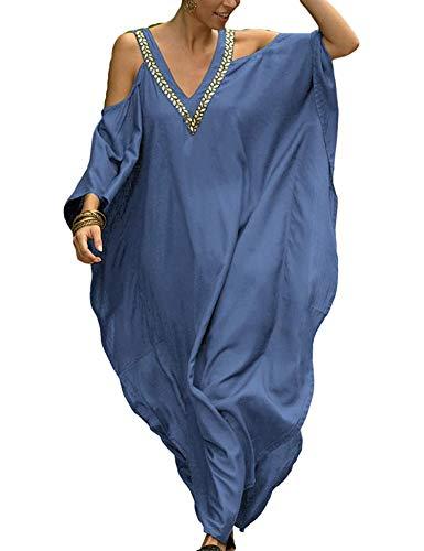 Orshoy Sommerkleid Damen Lang Maxikleider für Damen Strandkleid Kurzarm Jerseykleider Strickkleider Boho Sommerkleid Hemdkleid Tunika V-Ausschnitt A-Blau