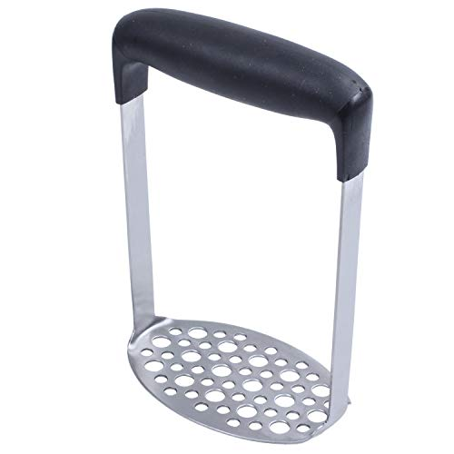 Yaootely Steel Potato Masher with Broad and Ergonomic Horizontal Handle – Fine-grid Mashing Plate for Smooth Mashed Potatoes, Vegetables and Fruits